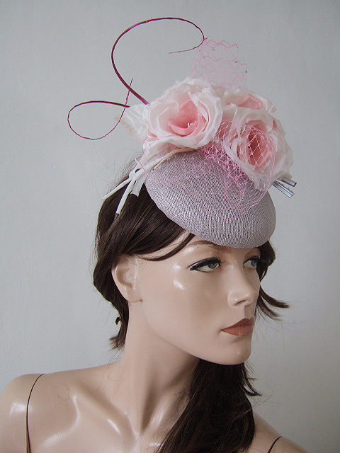 Silver Ivory Baby Pink Floral Veiled and Crystal Ascot Hat Headpiece  Fascinator c2453ef5f01